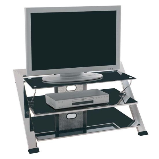 Integrating Black Glass TV Stand With Chrome Legs – Up To 42 Inch And More