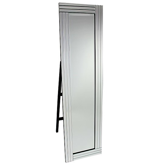 Cheval Triple Bar Floor Standing Mirror in Silver