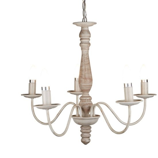 Beautiful Washed Brown Five Light Ceiling With Wood Spindle