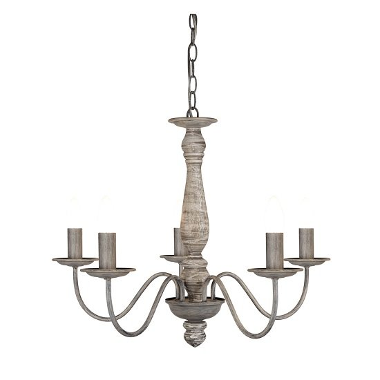 Beautiful Washed Grey Five Light Ceiling With Wood Spindle