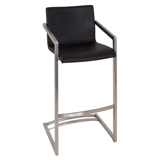 Benito Bar Chair In Black Genuine Leather