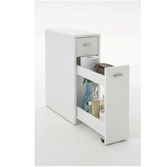 Denia Bathroom Storage Cabinet In White With Pull Out Module