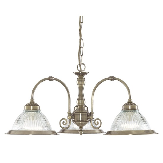 American Diner 3 Lamp Antique Brass Ceiling Light