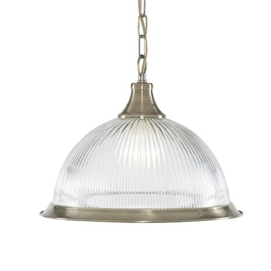 American Diner Antique Brass Pendant Lamp In Clear Glass