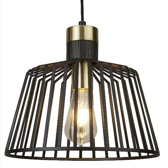 Bird Cage Frame Pendant Lamp In Black And Brass Design
