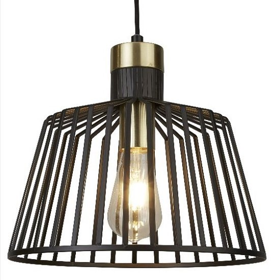 Bird Cage Frame Pendant Lamp In Black And Brass Design_1