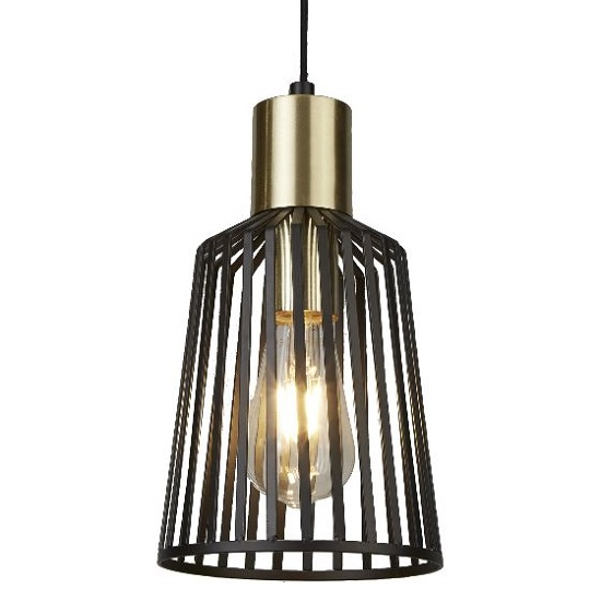 Bird Cage Pendant Lamp In Black And Satin Brass Design