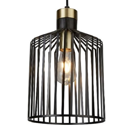 Bird Cage Frame Pendant Lamp In Black And Gold