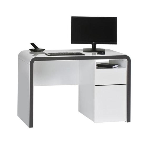Buzzdesk120 Computer Desk In White Gloss And Metal Dark