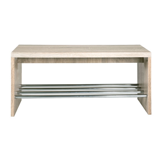 Martin Shoe Bench In Light Oak With Chrome Shelf