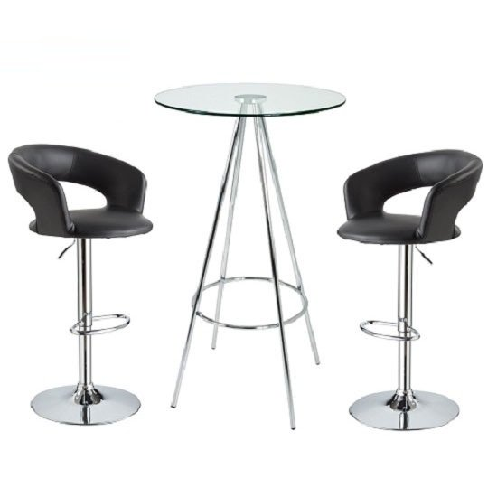 Glass Bar Stools: Amber Clear Glass Bar Table With 2 Fiona Black Bar Stools 20