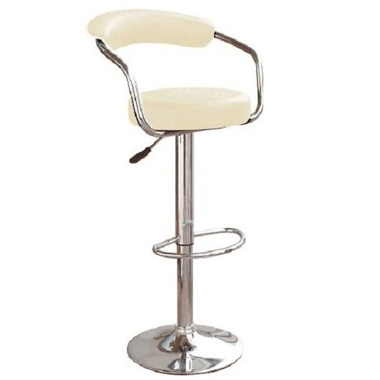 Zenith Kitchen Bar Stool In Cream with Gaslift Action