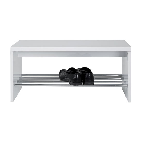 Martin Shoe Bench Wooden In White With Chrome Shelf