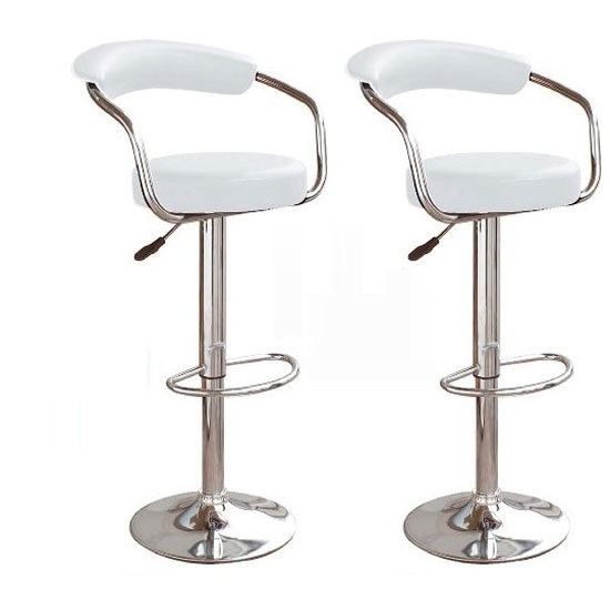 Zenith Bar Stools In White Faux Leather in A Pair
