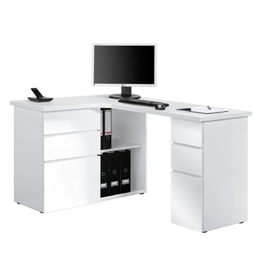 OxFord Ice White Finish Corner Computer Desk