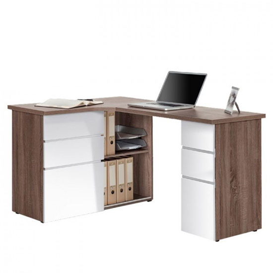 Oxford Truffle Oak Finish Corner Computer Desk 22887