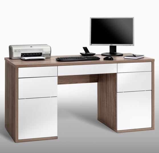 lorna white gloss and truffle oak computer desk with drawers computer desks workstations. Black Bedroom Furniture Sets. Home Design Ideas