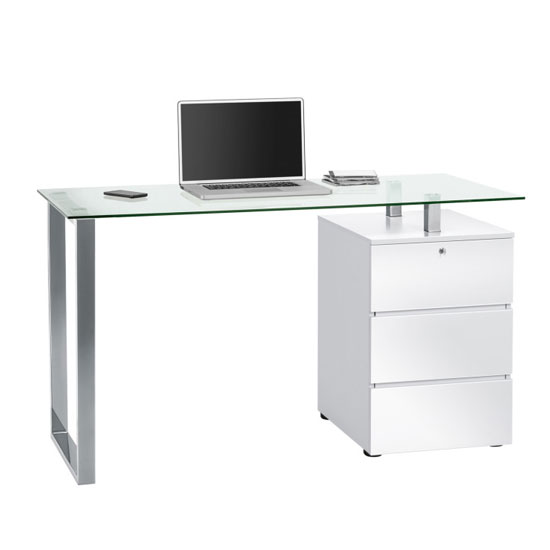 Richmond Computer Desk In Clear Glass Top And White Gloss