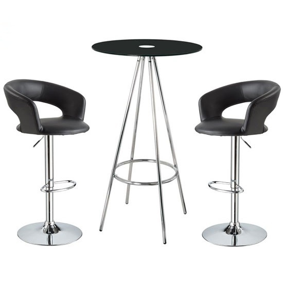 Amber Black Glass Bar Table With 2 Fiona Black Bar Stools