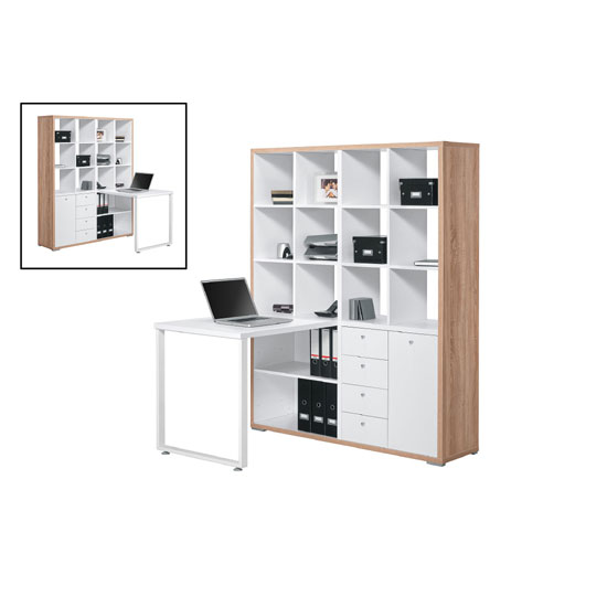 Octroy Sonoma Oak And Ice White Finish Mini Office Station
