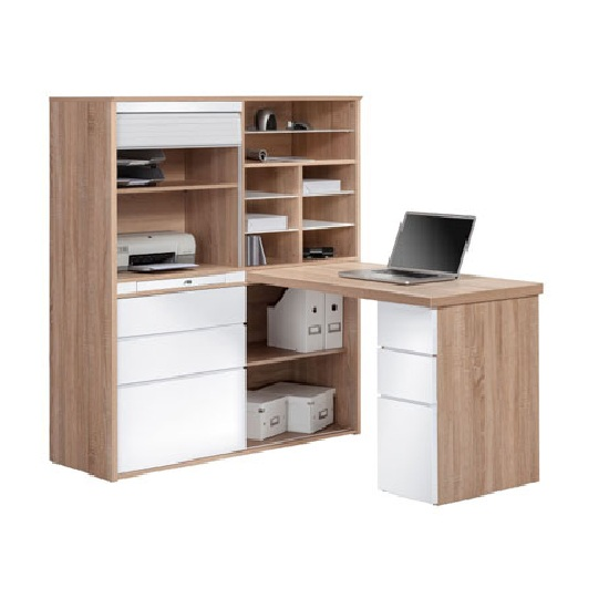 Byllan Mini Office Station In Sonoma Oak And Ice White
