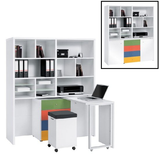 Zentra Mini Office Station In Icy White And Coloured Glass Front