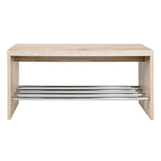 Martin Wild Oak Wooden Shoe Bench With Chrome Finish Shelf