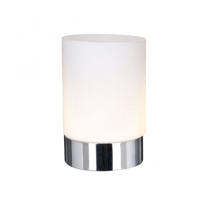 Chrome Cylindrical Touch Table Lamp With Opal White Glass Shade_1