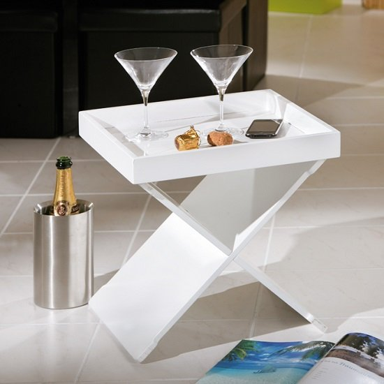 Moscow Side Table And Serving Tray In High Gloss White