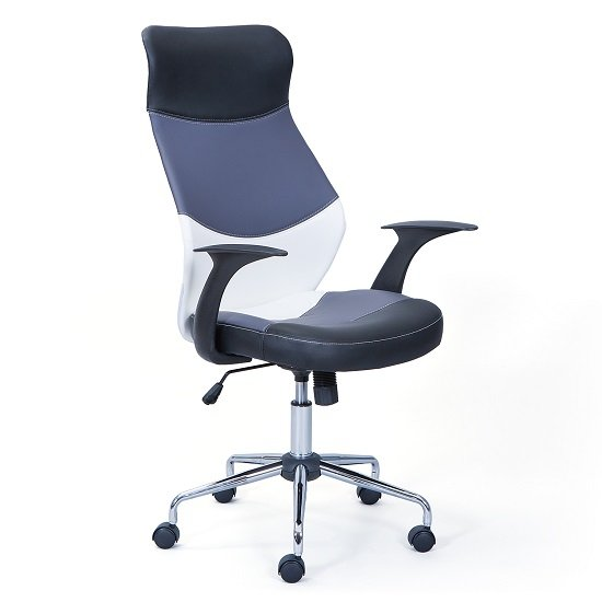 Carlow Office Chair In Faux Leather With Chrome Base And Castors