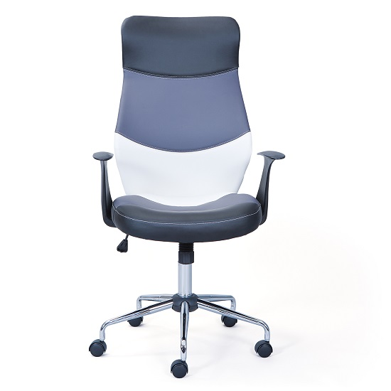 Carlow Office Chair In Faux Leather With Chrome Base And Castors_2