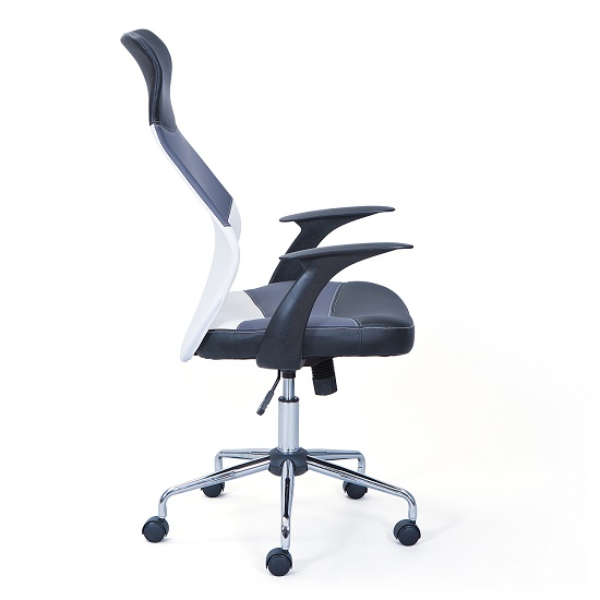 Carlow Office Chair In Faux Leather With Chrome Base And Castors_3
