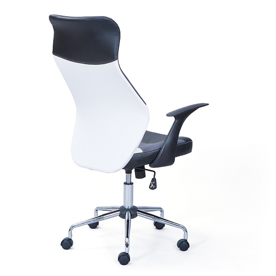 Carlow Office Chair In Faux Leather With Chrome Base And Castors_4