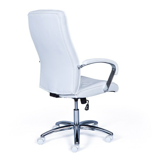 Silesia home office chair in white faux leather with chrome for Home office chairs leather