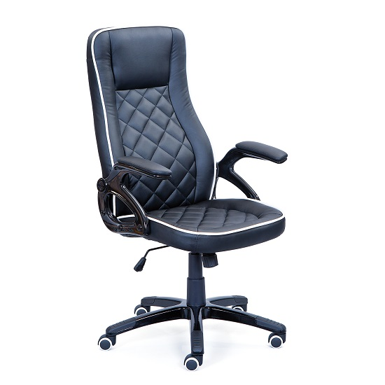 Celtic Home Office Chair In Black Faux Leather With Castors