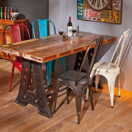 Amar Rectangular Wooden Dining Table With 6 Aix Metal Chair