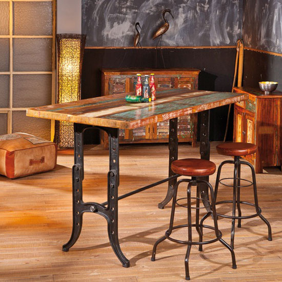 Amarelo Rectangular Wooden Bar Table With 4 Longo Bar Stools