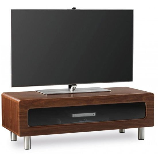 Ambri Walnut Veneer Finish LCD TV Stand With Drawer