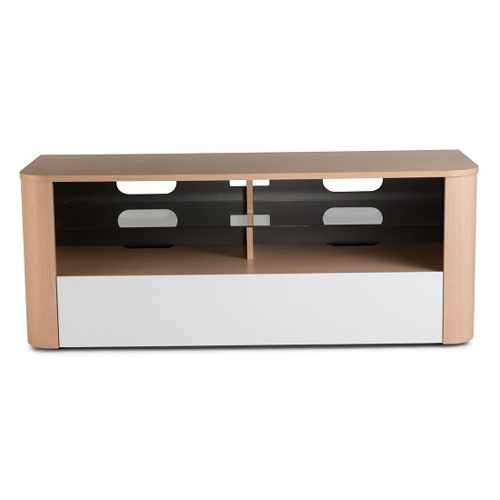 Hugo Modern Wooden TV Stand In White And Light Oak Finish