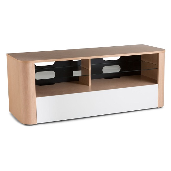 Hugo Modern Wooden TV Stand In White And Light Oak Finish_2