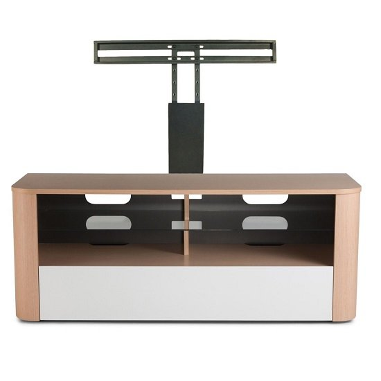 Hugo Modern Wooden TV Stand In White And Light Oak Finish_3