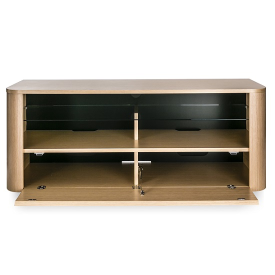 cardiff wooden tv stand in light oak with glass shelf 26253. Black Bedroom Furniture Sets. Home Design Ideas