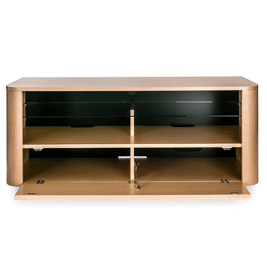 Cardiff Wooden TV Stand In Light Oak With Glass Shelf 26253