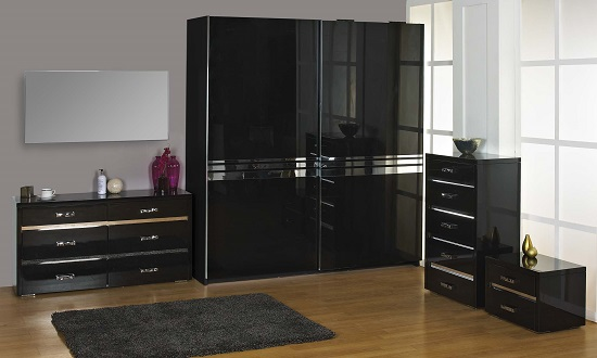 Melissa Black High gloss 2 Drawer Bedside Cabinet_3