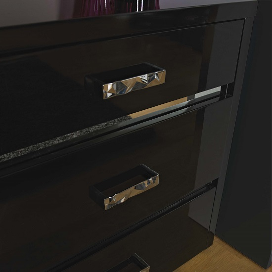 Melissa Black High gloss 2 Drawer Bedside Cabinet_2