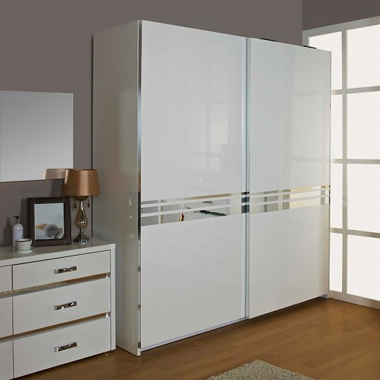 Melissa High Gloss 2 Door Sliding Wardrobe Finished In White