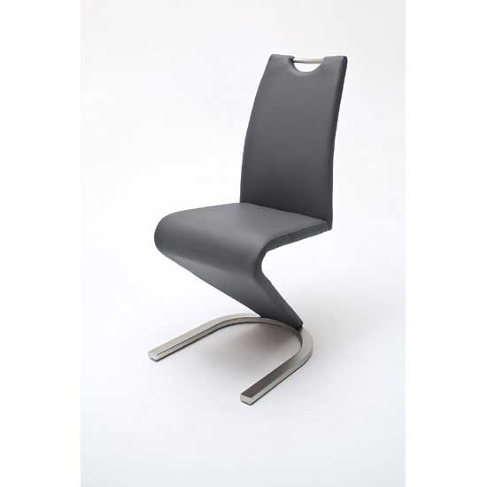 Read more about Amado z grey faux leather metal swinging dining chair