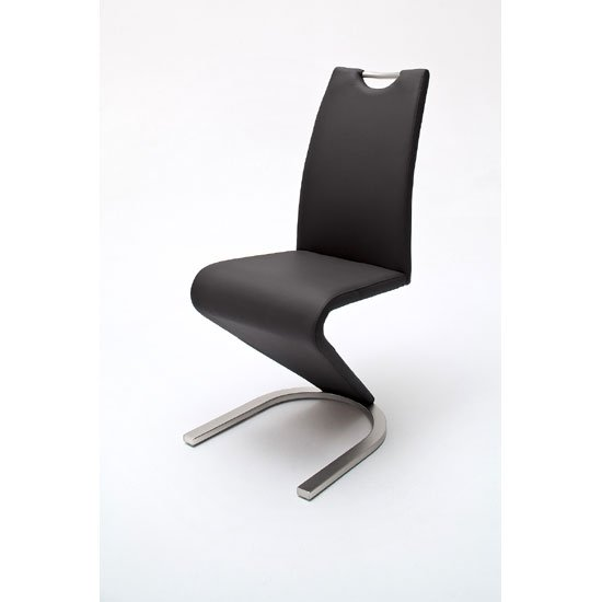 Read more about Amado z black faux leather metal swinging dining chair