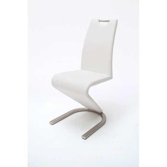 Amado Z White Faux Leather Metal Swinging Dining Chair
