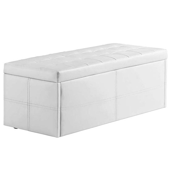 Ottomans Deacon Beige Upholstered Blanket Box: Amol White Faux Leather Ottoman Storage Bench